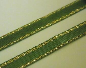 ❥ 1 meter Ribbon green & gold satin metallic scrapbooking sewing decoration