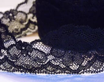 1 meter ❥ lovely Black Lace floral Ribbon 40mm