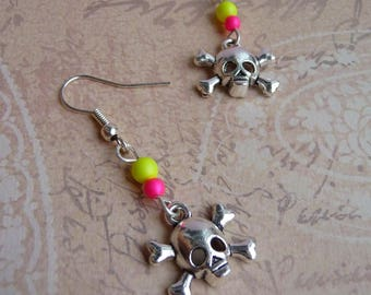 Gothic earrings psychedelic fluorescent neon yellow charm skull swarovski crystal skull