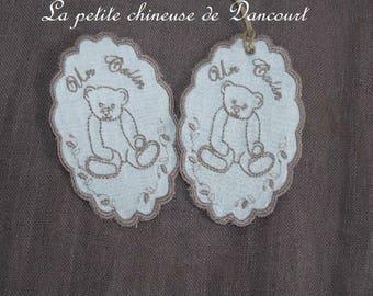 """Bear hug"" embroidered medallion with old bear"