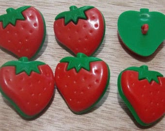 Strawberry set of six buttons with foot