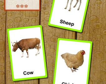 Farm animals flashcards. Bilingual - english and russian. DIY printable for kids!