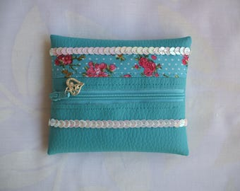 Turquoise leatherette coin purse with liberty fabric