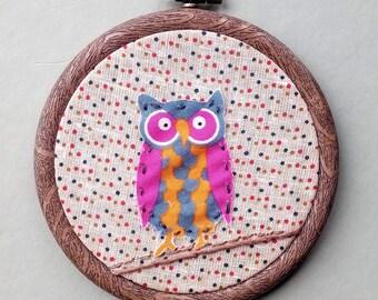 "Hoop art, owl art, fox art, 3"" hoop, woodland, nursery, birthday, housewarming, engagement, wedding, new baby"