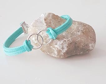 Turquoise blue suede bracelet