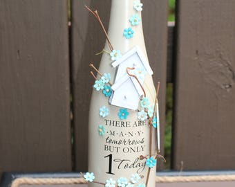 Decorated Wine Bottle - Many Tomorrows