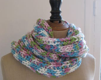 Pretty multicolored hand-knitted scarf