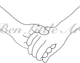 Holding Hands Line Drawing