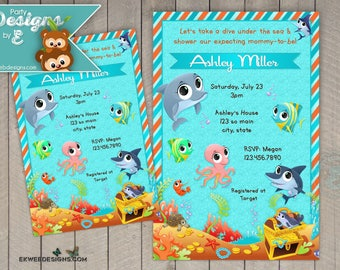 Under the Sea Baby Shower Invitation - Sea Creatures Baby Shower Invitation - Fish Baby Shower Invitation