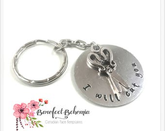 I will cut you keychain, gift for hairdresser, gift for barber, gift for him, gift for her, birthday gift, mindfulness gift, keychain gift