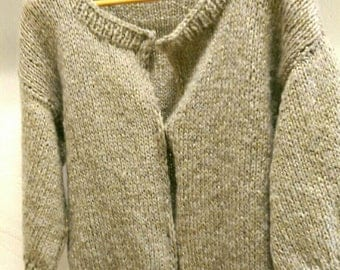 "Jacket wool ""Dove"" knitted beige and Golden hands"