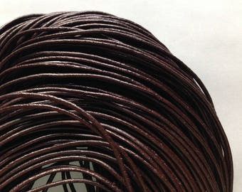 LOT 5 meters wire 1.5 mm Brown 3 string lace DYED round leather