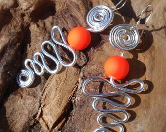 Silver Aluminum and orange neon bead earrings, silver attachment