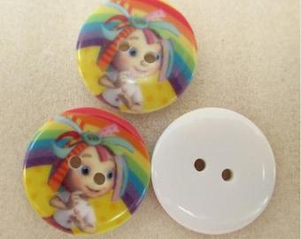 Set of 5 buttons plastic little girl cartoon