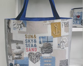 Leather tote bag and fabric sailor theme
