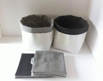 Baskets of arrangement ethnic black, white + 8 wipes for girl
