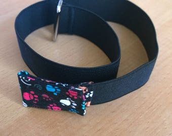 Handmade kids belt, elastic patterns paw prints small - paws Collection
