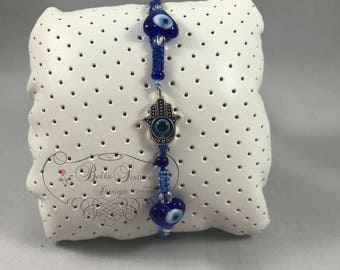 Evil Eye/Hamsa Hand Charm Bracelet,  Good luck Charm
