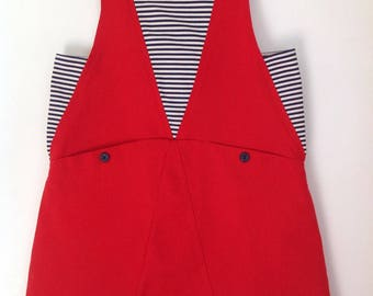 Trapeze dress sailor 8 years old, red spring/summer dress, girl in red cotton dress