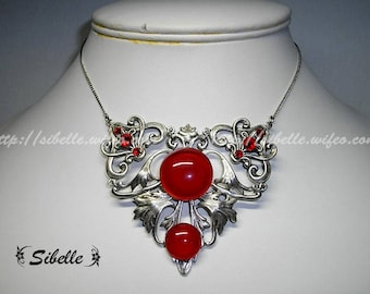 Necklace lysserine red cabochon (g.c.9-3)