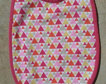 Bib 6-12 months Terry collection Pink Triangles
