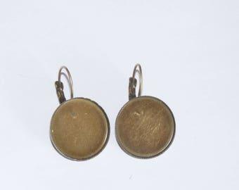 pair of earrings sleepers bronze 20mm cabochon