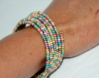 Memory Wire Bracelet multicolored beads