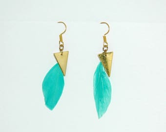 Squaw turquoise and gold earrings