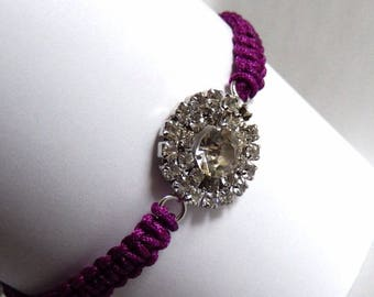 Macrame bracelet purple wire and round charm with Rhinestones multitude
