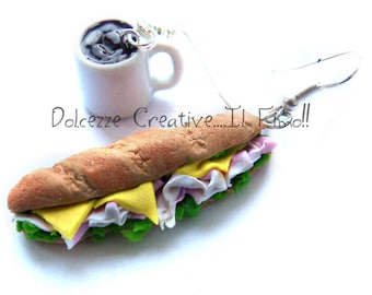 Earrings Saturday night - Sandwich - wand - ham and cheese salad