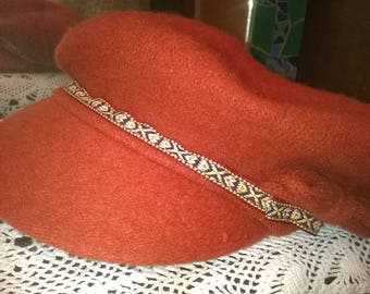 Wool beret hat, orange