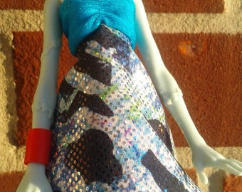 Blue and Multi Colored Monster High Outfit