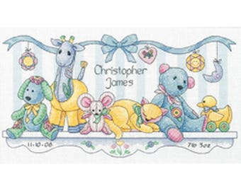 """Dimensions Baby Hugs Baby Friends Birth Record 14 count Cross stitch kit 8""""X14"""""""