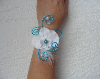 White and turquoise flower bracelet for wedding