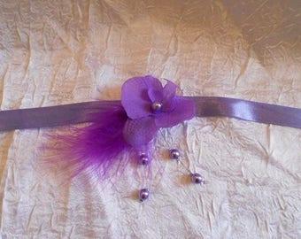 Purple crew neck color ribbon necklace