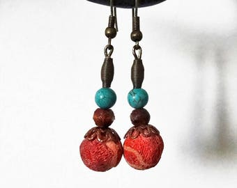 Pearl Earrings Sangk (pink and blue) wash