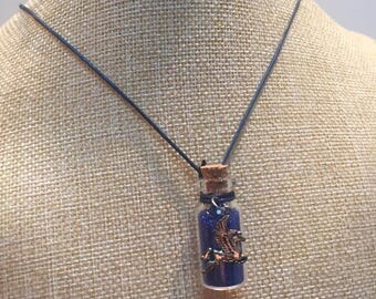 Pegasus blue glitter glass vial necklace jewelry
