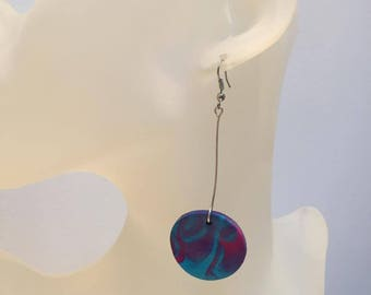 Pink Blue round polymer clay earrings