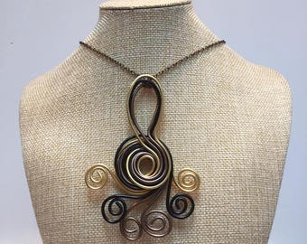 Necklace black brown gold aluminum wire jewelry