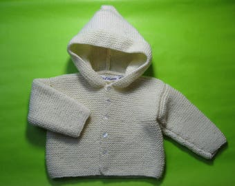 Small jacket with hood knitted pure wool