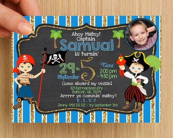 Boys Pirate Party Birthday Invitation Personalised #1 - With or without photo, digital download