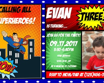 Superman Themed Birthday Invitation
