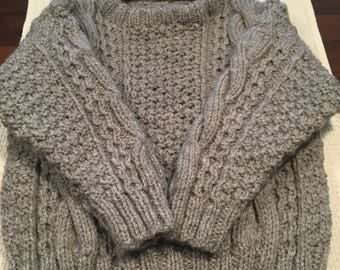 Unique New Boyu0027s Hand Knitted Round Neck Aran Jumper Sweater With Cables    Yarn With 20