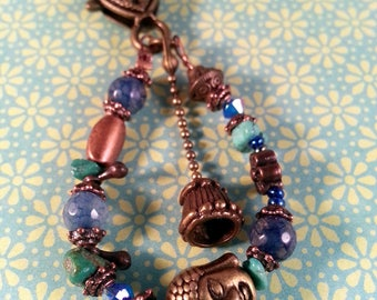 Gypsy bag charm and Turquoise Blue