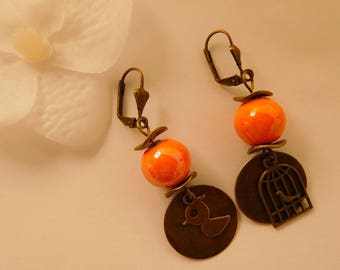 Orange ceramic porcelain bead earrings