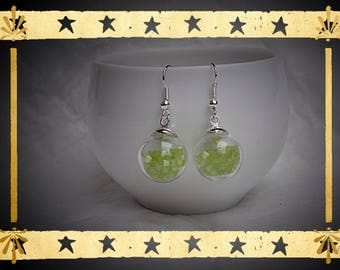 Light green micro bead square filled glass globe mounted on earrings