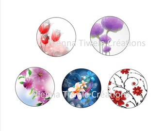 """25mm, 20mm, 18x25mm, 12mm, Digital Images for hobby """"Flowers"""""""