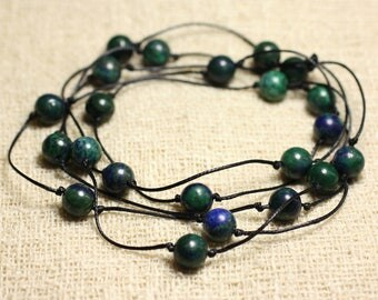 Long cotton necklace and semi precious Chrysocolla stone