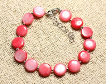 Bracelet 925 sterling silver and mother of pearl beads 10mm pink coral peach