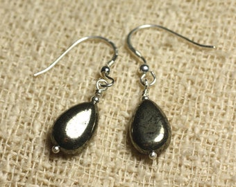 Earrings 925 Silver - Gold Pyrite drop 12x8mm
